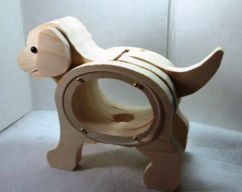Craft supplies ready to finish sweet puppy dog wooden for Handmade coin bank