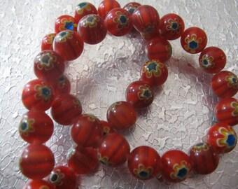 Millefiori Glass Beads ( 40 ) Red Round beads 10mm