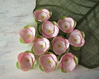 Fabric flower appliques, satin rose flower embellishments, floral appliques, pink fabric flowers for crafts (10pcs)- APPLE TREE BLOSSOMS