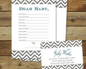Printable baby shower game, instant download, Wishes for Baby, dark blue & gray chevron