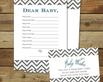 Dear Baby shower game - baby wishes instant download - Wishes for Baby, dark blue & gray chevron