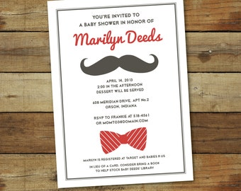 mustache baby shower invitation, bow tie baby shower, baby boy shower invitation, printable invitation