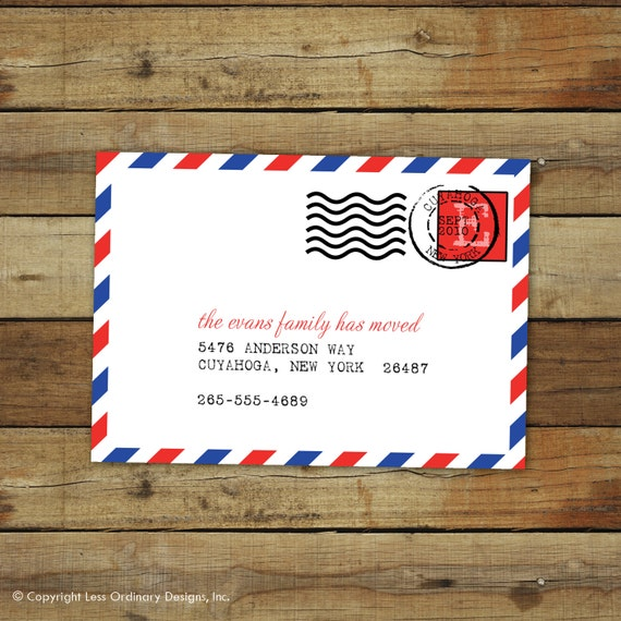 custom moving announcement - airmail postmark