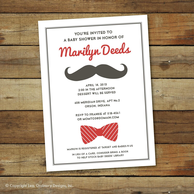 mustache baby shower invitation bow tie baby shower baby boy