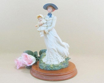 Vintage Baby Figurine, Mother Baby Figurine, Nursery Decoration, Nursery Figurine, Collectible Richard Zolan Summer at the Seashore