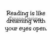 """Sentiment: """"Reading is like dreaming…"""" cling mounted rubber stamp"""