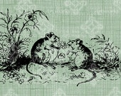 Digital Download Mice with Flower illustration digi stamp, digis, digital graphic, Cute Sweet, Field Mouse