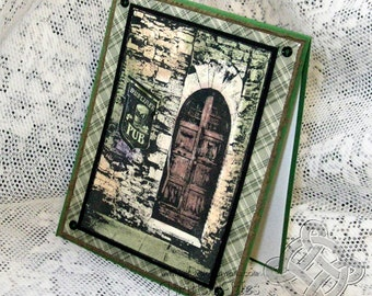 St Patrick's Day Card, Dubliner Pub Card with old door image, Vintage style Shabby Chic, Old World Charm, Green and Brown Plaid
