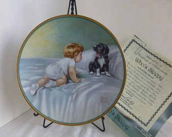 Bessie Pease Gutmann Whos Sleepy Child on Bed with Puppy Certificate Included