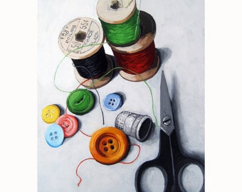 SEWING TIME still life vintage sewing tools print from my original oil painting