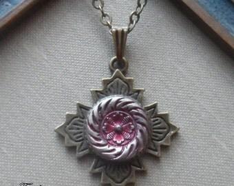 Sale-Antique Button Necklace- Cherry Blossom