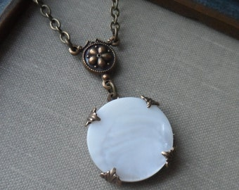Flower Moon, Antique Mother of Pearl Button Necklace