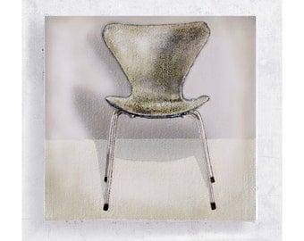 Chair Art - S is For Series Seven - Arne Jacobsen/ Fritz Hansen Chair - Canvas Print on 5x5 Art Block - Retro Decor - Modern - Wall Art