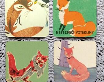 A Skulk of Foxes -- Vintage Illustration Mousepad Coaster Set