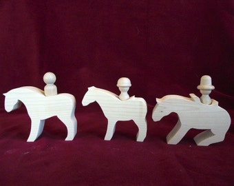 Set of 3 Chunky Horses with Peg Doll Riders, Unfinished Pine