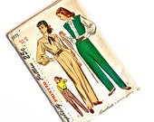 Vintage 1940's Pants and Blouse Pattern, Stylish, Uncut, Complete