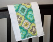 Aqua/Turquoise/Yellow Medallion Baby Burp Cloths - Baby Shower Gift - Create-A-Set