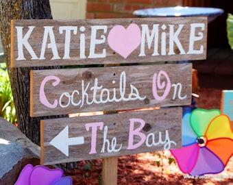 Romantic Wedding Signs Beach bay Cocktails Sign Outdoor Weddings LARGE FONT Hand Painted Reclaimed Wood. Rustic Weddings. Vintage Weddings