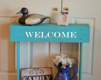 WELCOME Console Table Small Console Table Teal Skinny Table Skinny Entry Table BLUE Cottage 36X7X30 Farmhouse Table