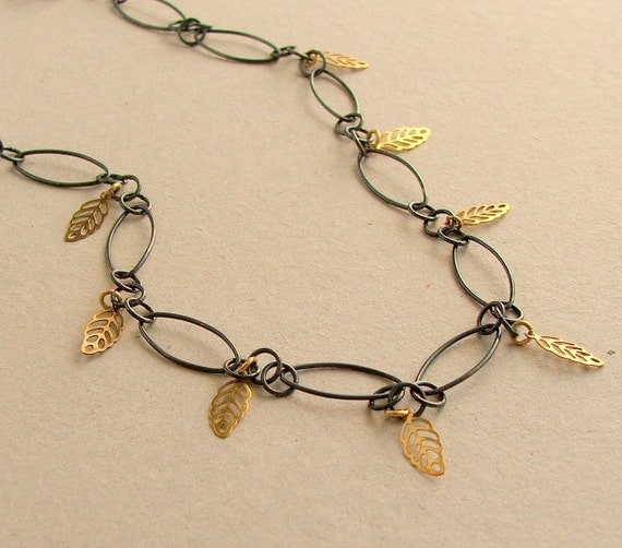 Black Chain Necklace, Gold Charm Leaf Necklace, Boho Necklace, Oxidized Sterling Silver, Sundance Style, Earthy, Natural, Neutral
