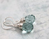 20 Colors to Choose from, All Sterling Silver Earrings, Everyday Jewelry, Aquamarine Earrings, Dangle Earrings, Quartz Jewelry, Mother's Day