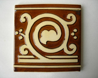 Handmade Ceramic Tile Stylized Grape Vine
