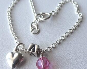 Petite Sterling Silver Initial Birthstone Children Bracelet, Personalized, Monogram, Reversible, Flower Girls Bracalet, First Communion