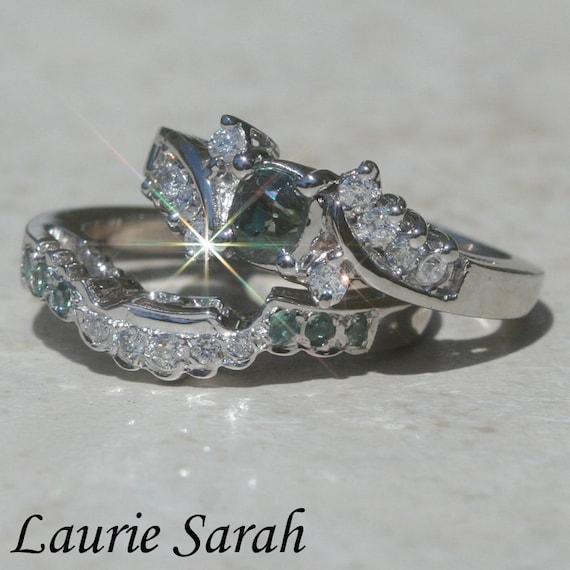 Natural Alexandrite Ring, Natural Color Change Alexandrite and Diamond Wedding Set - LS1198
