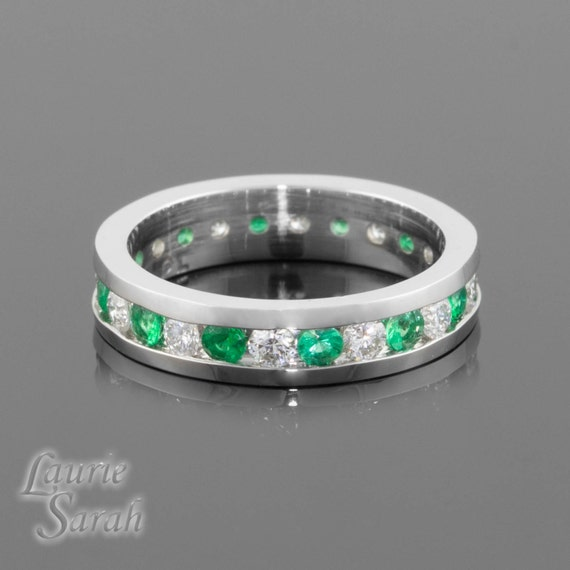 Emerald and Diamond Channel Set Eternity Band - LS659