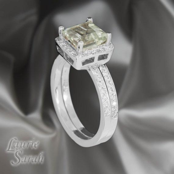 Engagement Ring, 3 Carat Prasiolite and Diamond Halo Engagement Ring with Diamond Half Eternity Wedding Band - LS1301