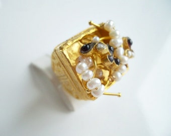 Triple Gold plated Garned and Pearl ring