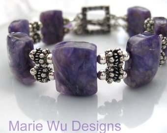40%OFF-Natural Russian Purple Charoite-Balinese Silver Toggle Bracelet with Pink Amethyst Charm
