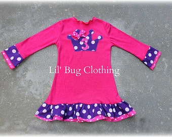 Custom Boutique Princess Crown Birthday Girl  Dress Hot Pink and Purple Polka Dot