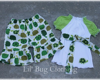 Custom Boutique Girl Summer Turtle Peasant Top And Ruffles Shorts 3m 6m 9m 12 18 24 2t 3t 4t 5t 6 7 8 9/10 girl.