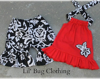 Red Black Floral Girl Outfit, Summer Girl Outfit, Boutique GIrl Summer Outfit, Pageant Wear Girl Outfit, Birthday Party Outfit