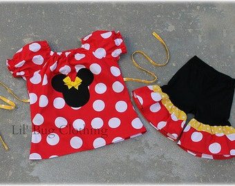 Jumbo Dot Red Yellow Minnie Mouse Short Sleeved Peasant Top and Comfy Knit Shorts  Custom Boutique Girl