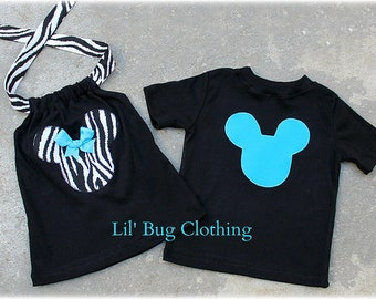 Custom Boutique Clothing Boys  Aqua Mickey  Mouse  Tee And Girls Zebra  Halter Brother Sister Tops