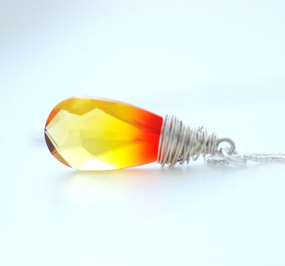 Fire Opal Crystal Necklace, Wire Wrapped Yellow Orange and Red Crystal Pendant, Swarovski Elements, Sterling Silver - A Night at the Opera