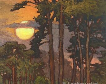 Evergreen Towers - Giclee Fine Art PRINT of Original Painting matted 16x20 by Jan Schmuckal
