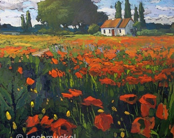 Poppies In Provence - Giclee Fine Art PRINT matted 11x14 by Jan Schmuckal