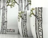 Summer Aspen Tree - 2 Large Personalized Mugs - Hand Painted Aspen Mugs