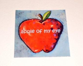Apple of My Eye Magnet, Faith Art, Grandparent gift, Parent gift, Scripture Art, Refrigirator Magnet, Red Apple