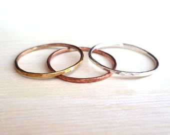 Stacked Rings - Sterling Silver - Brass - Copper - Hammered - Rustic - Textured - Mixed Metal - Stackable Rings- Hipster Jewelry - 3 Rings