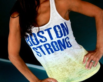 Boston Strong/ Runnahs United.  Burnout A-Line Ombre Racerback Tank. Sizes S-XL.  The One Fund Boston Donation.