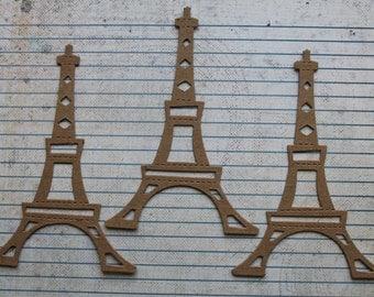 3 Bare chipboard die cuts Eiffel Tower Style no. 2 Diecuts