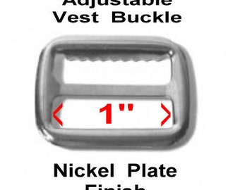 "SALE - 100 PIECES - 1"" - Metal Vest Adjustable Slide BUCKLE, Nickel Plate Finish, with teeth"
