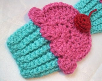Cupcakes Scarf Crochet Turquoise Cupcakes Scarf Pink Frosting 3D Cherry 70in. Foodie Food Sweet Yummy Kawaii Candy Super Soft SHIPS NOW