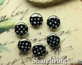 12mm Glass Dome, 8mm 10mm 14mm 16mm 20mm 25mm 30mm Round Black and White glass Cabochon - BCH180J