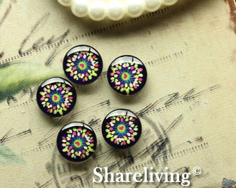 Glass Cabochon, 8mm 10mm 12mm 14mm 16mm 20mm 25mm 30mm Round Handmade photo glass Cabochons (Floral)  -- BCH183G