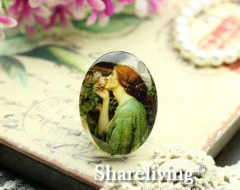 2pcs 30x40mm Handmade Photo Glass Cabs Cabochons (Vintage Lady)  -- BCH418A